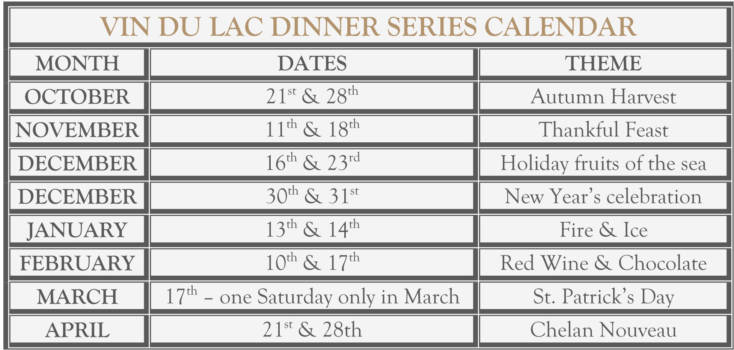 VIN DU LAC DINNER SERIES CALENDAR